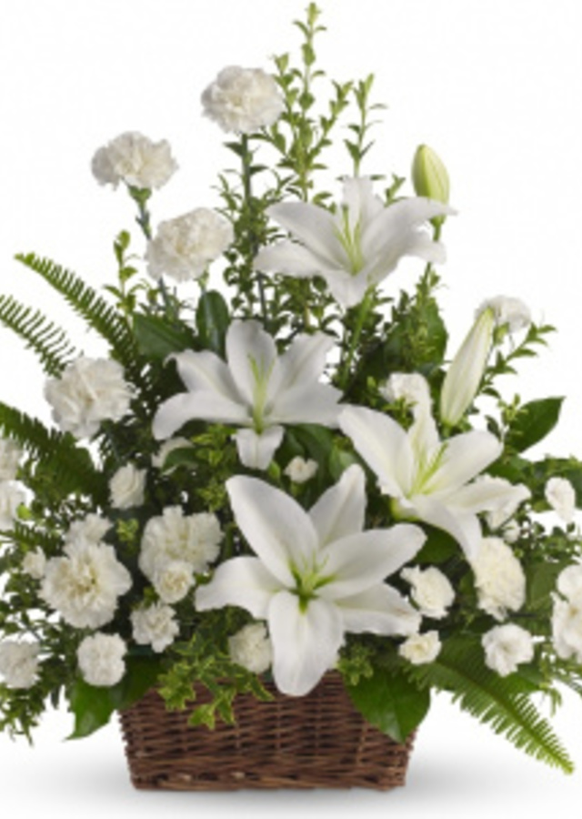 Exquisite Heavenly White Lilies Basket by The Flower Alley