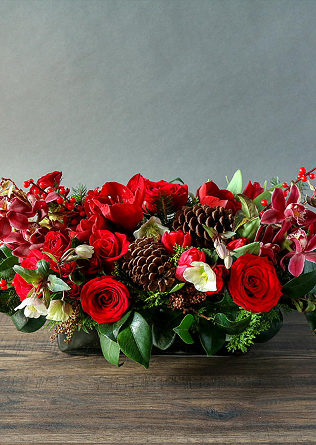 Holiday Jewel Centerpiece by The Flower Alley