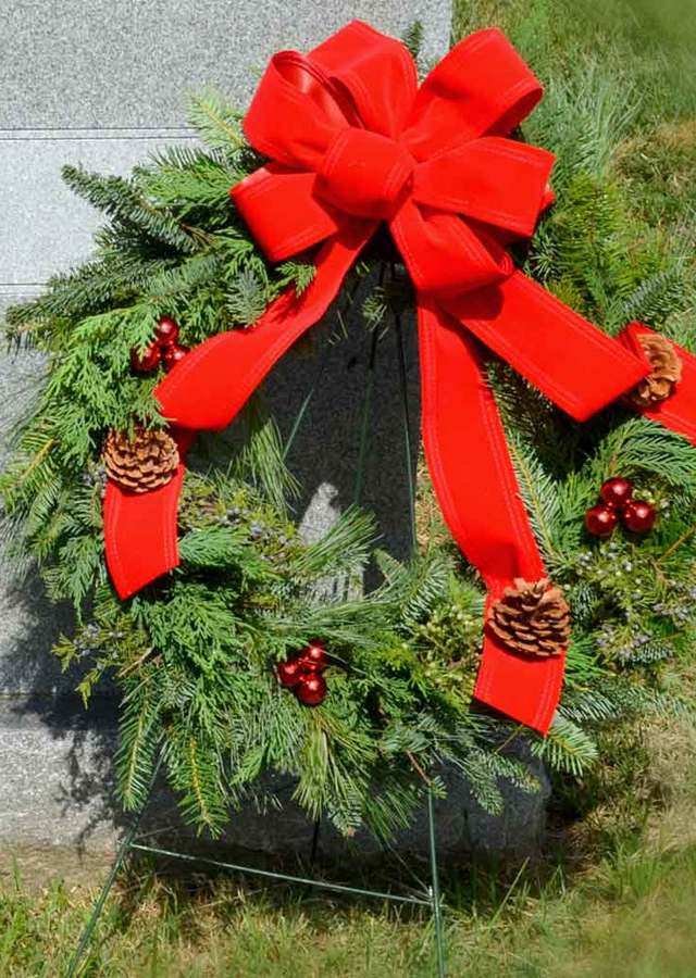 Holiday Wreath on Easel by The Flower Alley