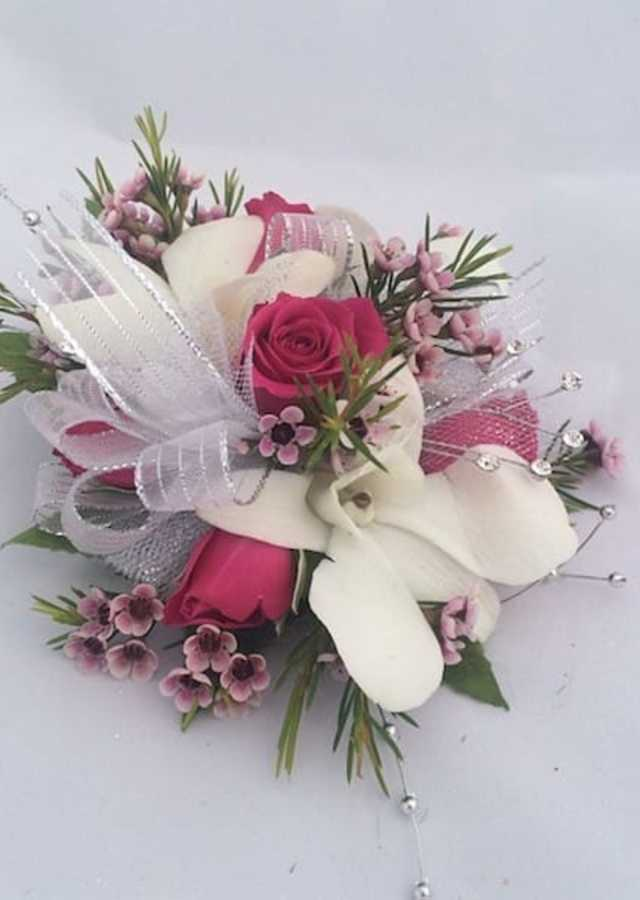 Display of Hot Pink and White Corsage by The Flower Alley