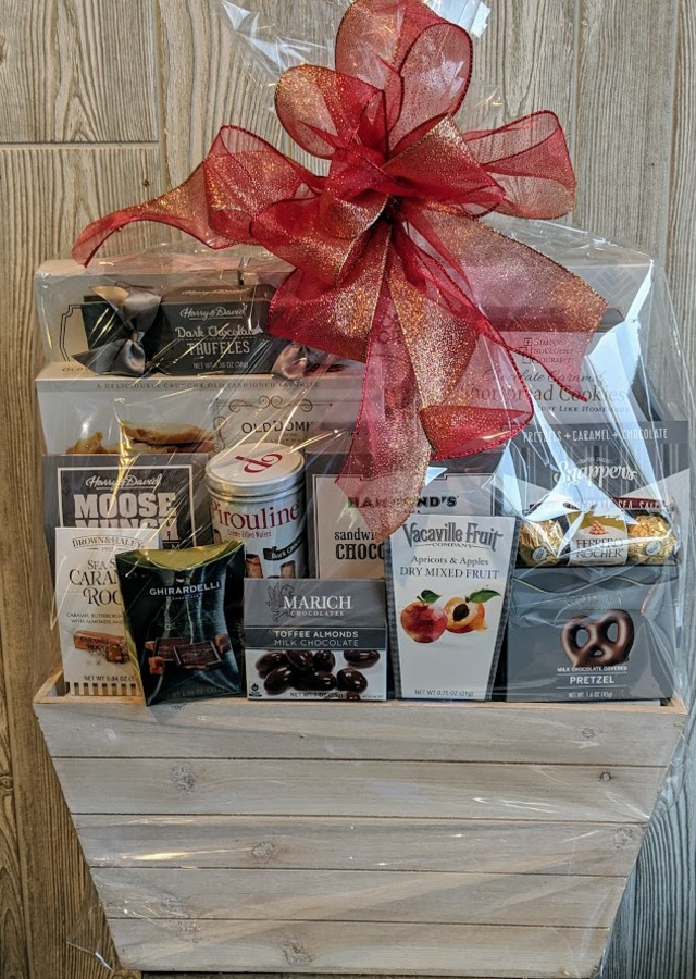 Display of Premium Gourmet Basket by The Flower Alley