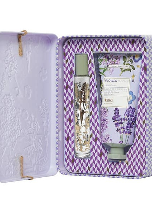 Display of Lavender Garden Tin by The Flower Alley
