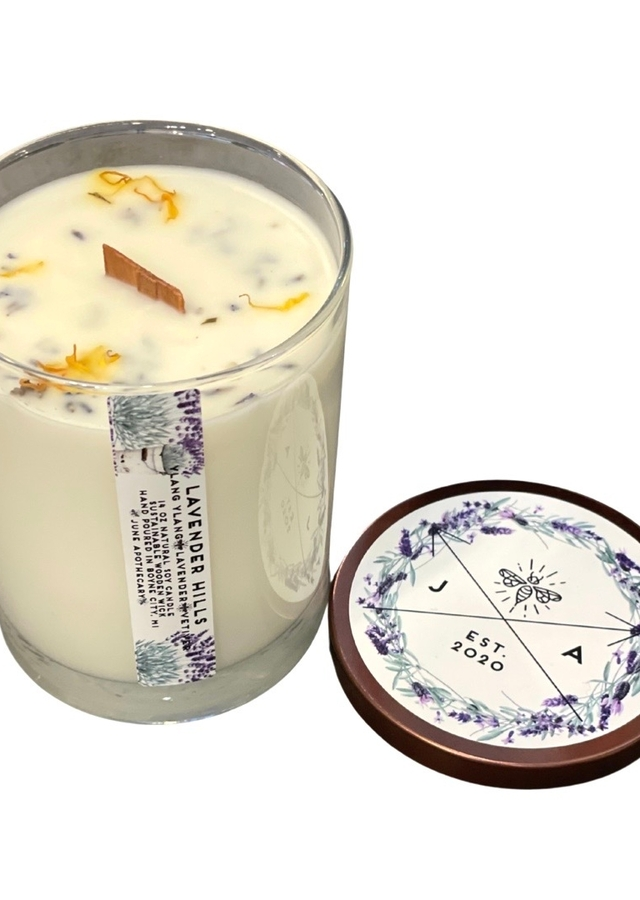 Display of Lavender Hills 14oz Wooden Wick Tumbler Candle by The Flower Alley