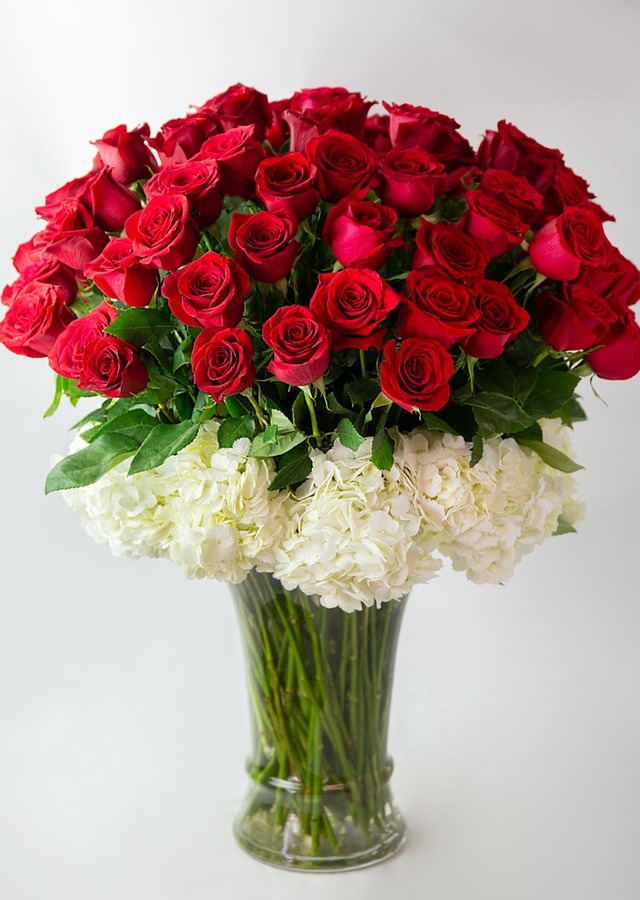 Display of Lavish - 75 Long Stem Roses by The Flower Alley