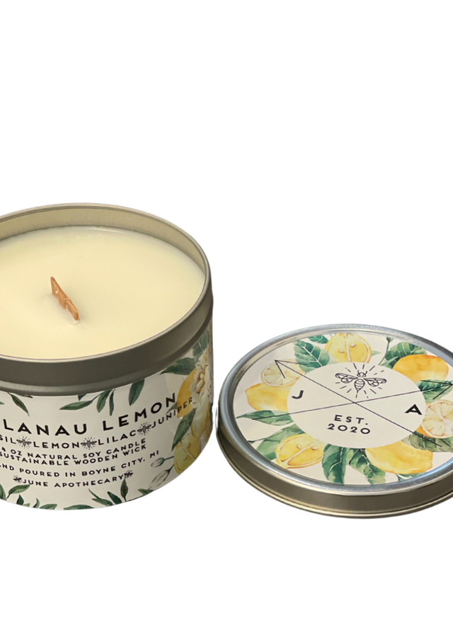 Display of Leelanau Lemon Wooden Wick 16oz Tin Candle by The Flower Alley
