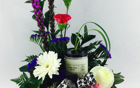 Display of Love Your Guts... Keepsake Made in Detroit Candle + Flower Set by The Flower Alley