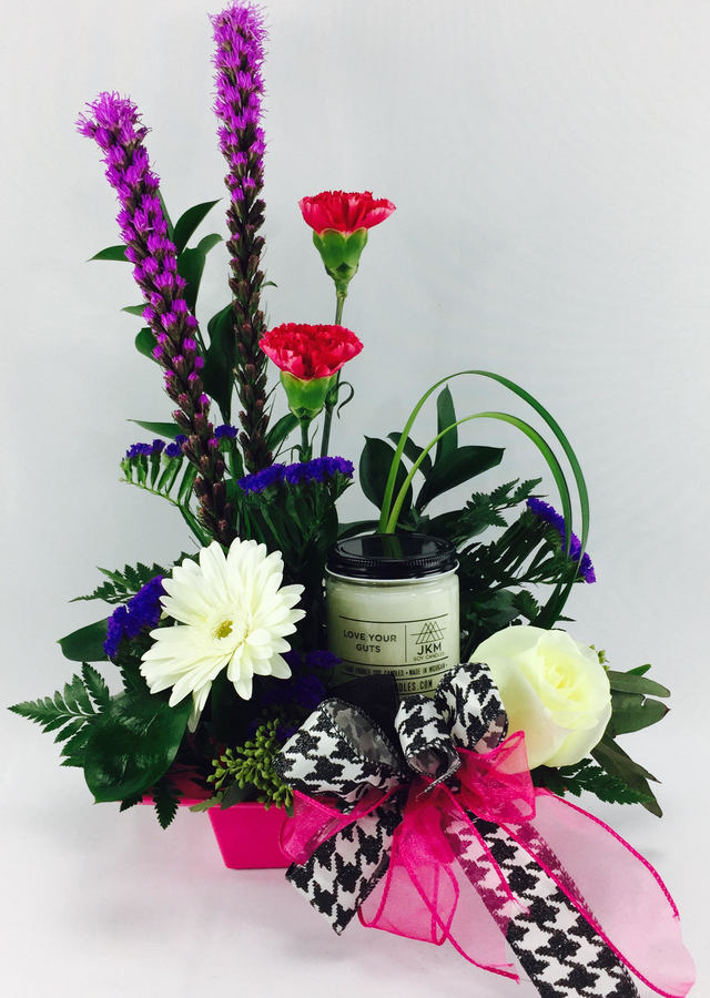Love Your Guts... Keepsake Made in Detroit Candle + Flower Set by The Flower Alley