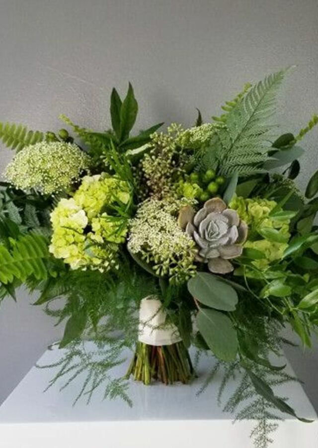 Display of Lovely Greens: Large Bouquet by The Flower Alley