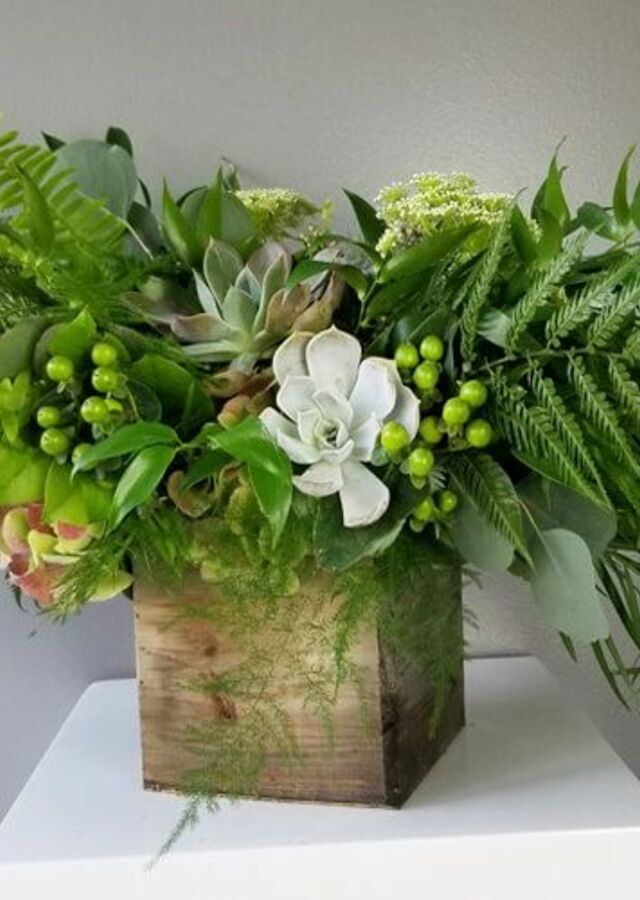 Display of Lovely Greens: Large Centerpiece by The Flower Alley
