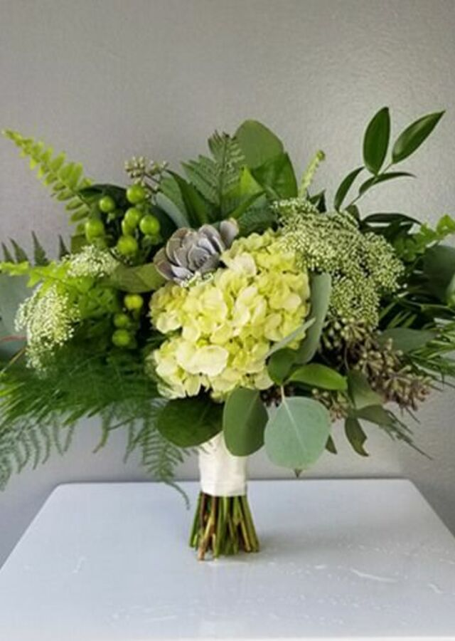 Display of Lovely Greens: Small Bouquet by The Flower Alley