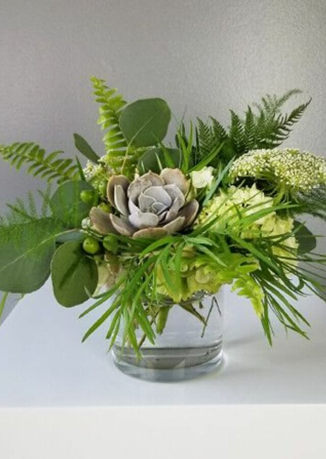 Display of Lovely Greens: Small Centerpiece by The Flower Alley