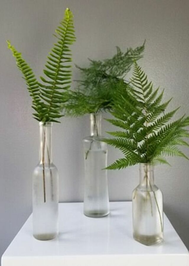 Display of Lovely Greens: Trio of budvases by The Flower Alley
