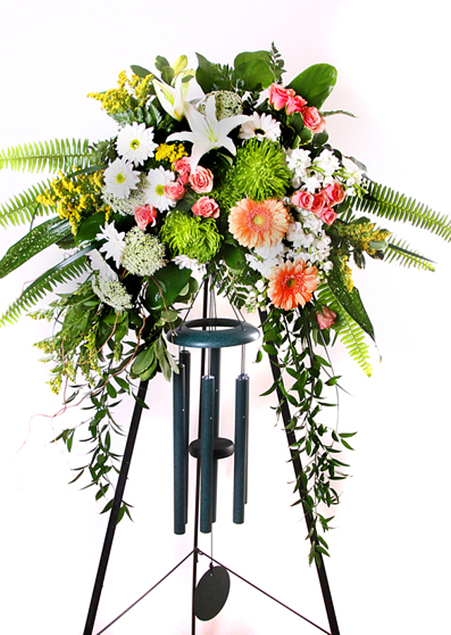 Display of Memorial Chime Spray by The Flower Alley