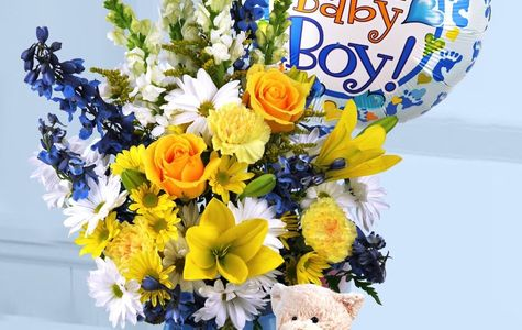 Display of New Baby Boy Surprise Bouquet by The Flower Alley