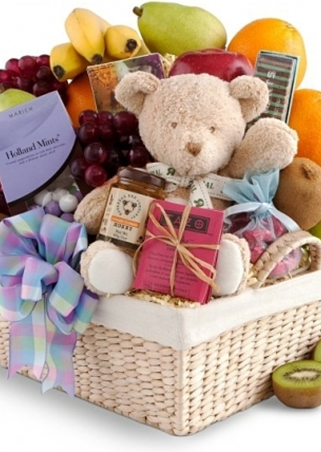 Display of New Baby Gift Basket by The Flower Alley