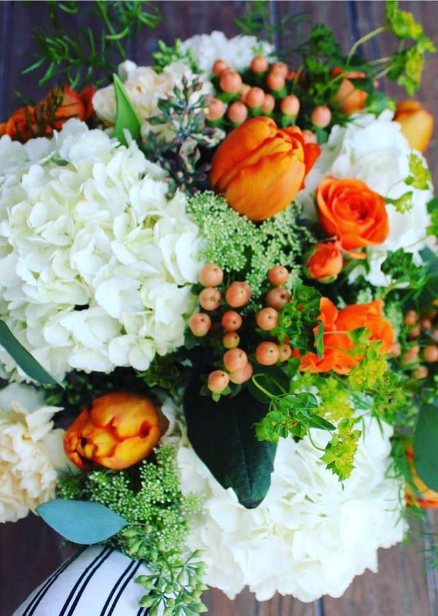 Display of Orange & White: Northville Loose Bouquet by The Flower Alley