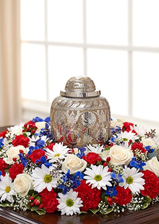 Display of Patriot Urn Wreath by The Flower Alley