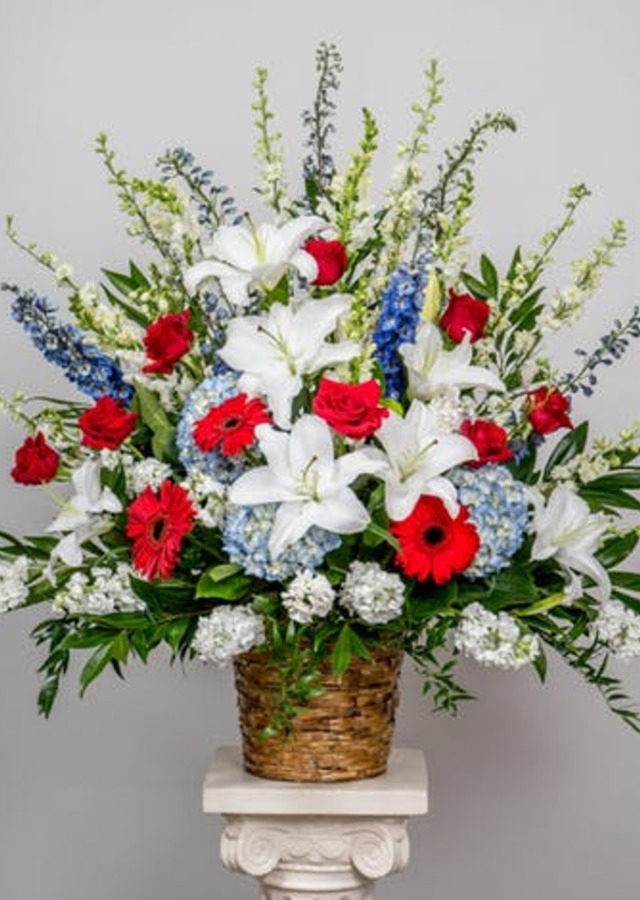 Display of Patriotic Basket by The Flower Alley