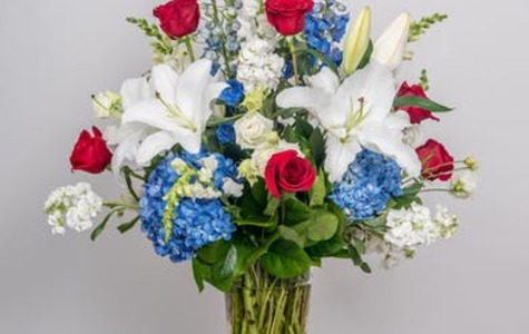 Display of Patriotic Vase Arrangement by The Flower Alley