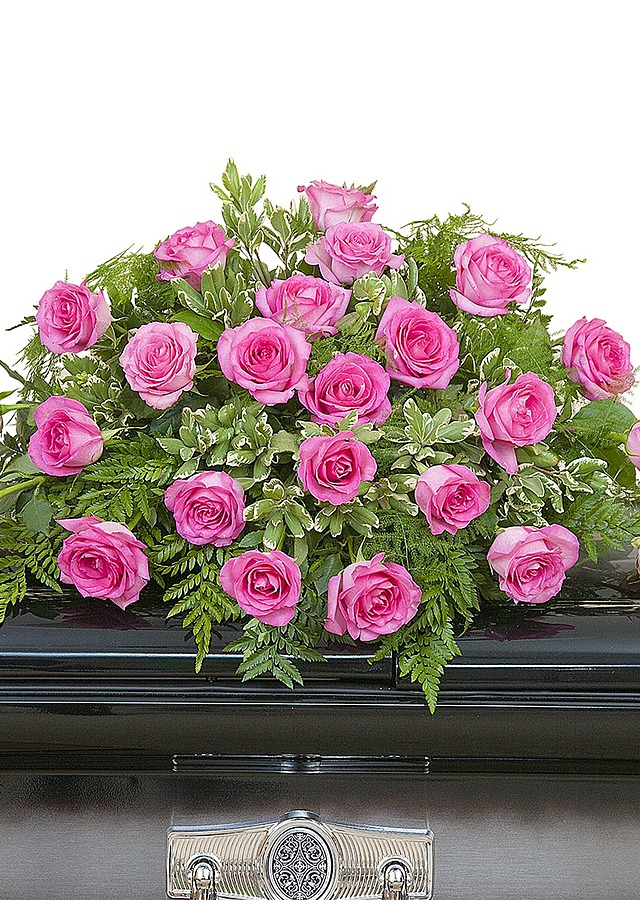 Display of Pink Rose Casket Spray by The Flower Alley