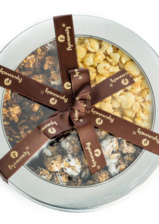 Popinsanity: 3 Flavor Gourmet Popcorn Gift Tin by The Flower Alley