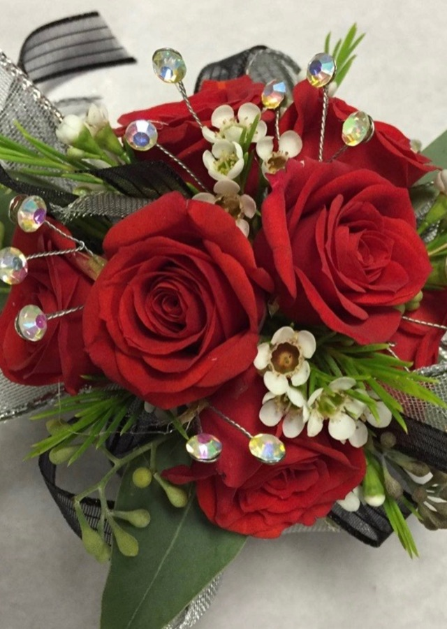 Display of Premium Red Corsage by The Flower Alley