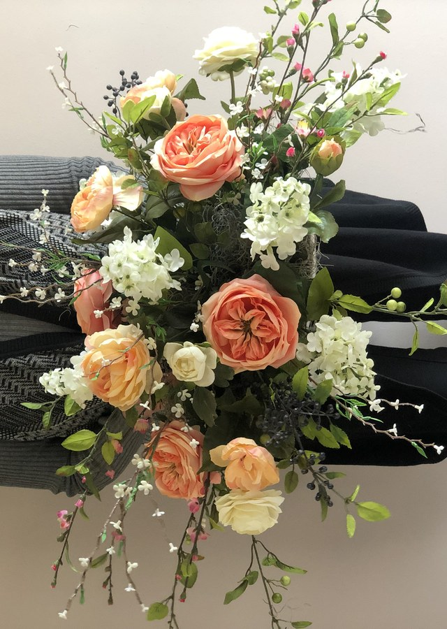 Pretty in Peach Silk Flower Centerpiece by The Flower Alley