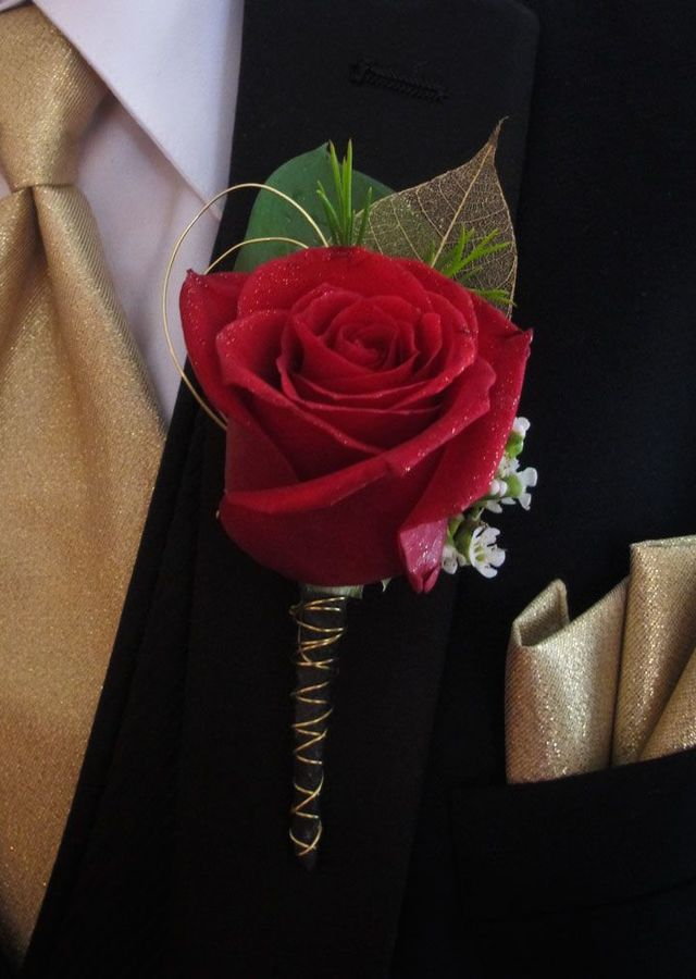 Display of Red Rose Boutonniere with Gold by The Flower Alley