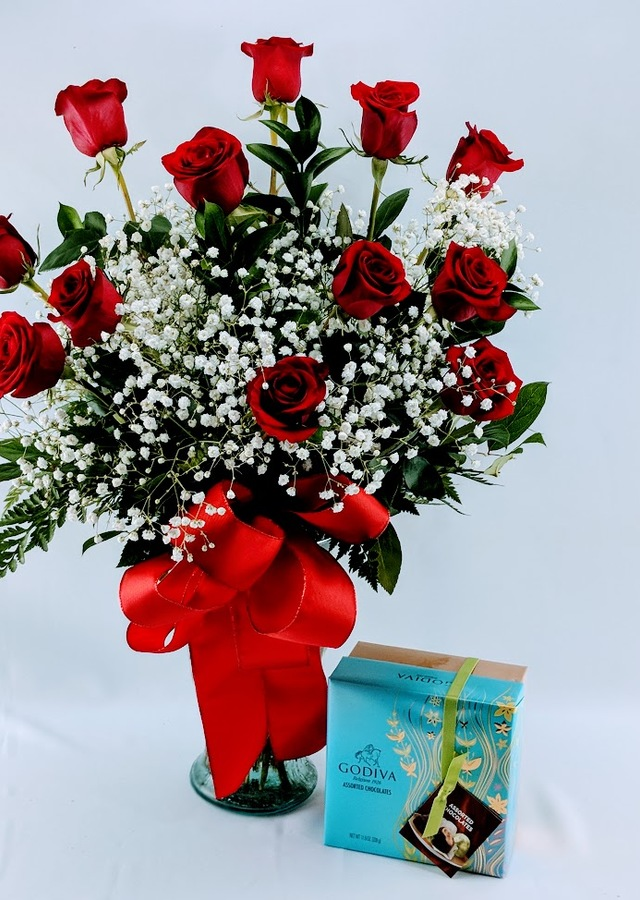 Roses & Godiva Chocolates by The Flower Alley