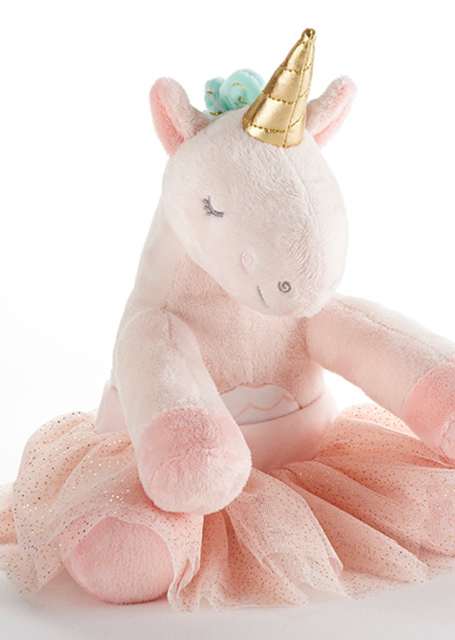 Display of Rosie the Unicorn Plush Plus with Tutu by The Flower Alley