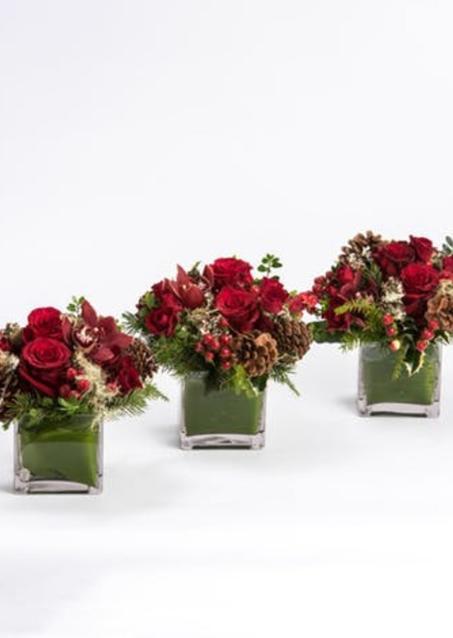Display of Ruby Trio Centerpiece by The Flower Alley