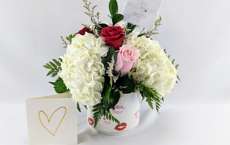 Display of Send A Little Love Bouquet: Gift Combo by The Flower Alley