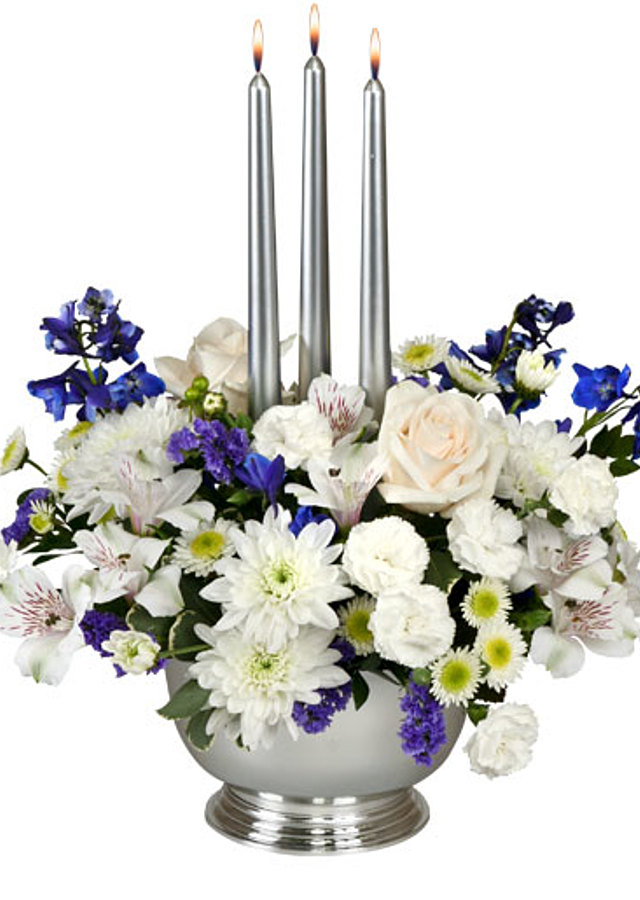 Display of Silver Elegance Centerpiece by The Flower Alley