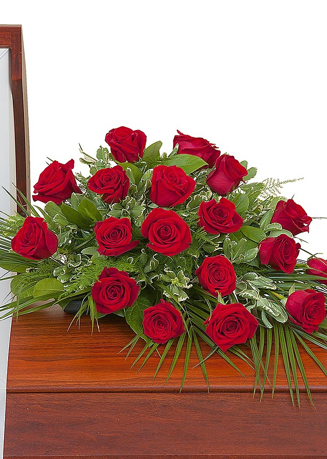 Display of Simply Roses Casket Spray by The Flower Alley