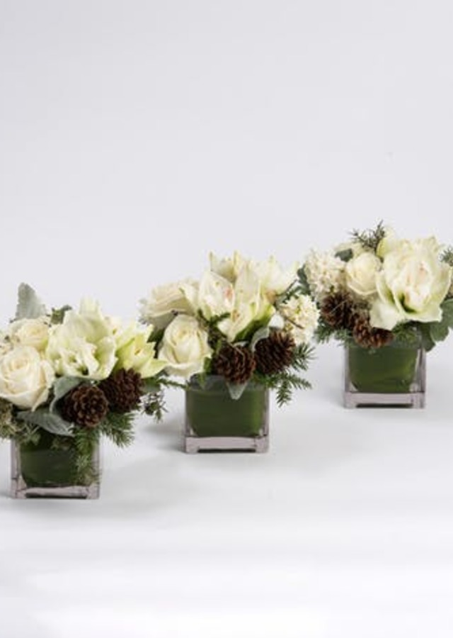 Snowcaps Trio Centerpiece by The Flower Alley