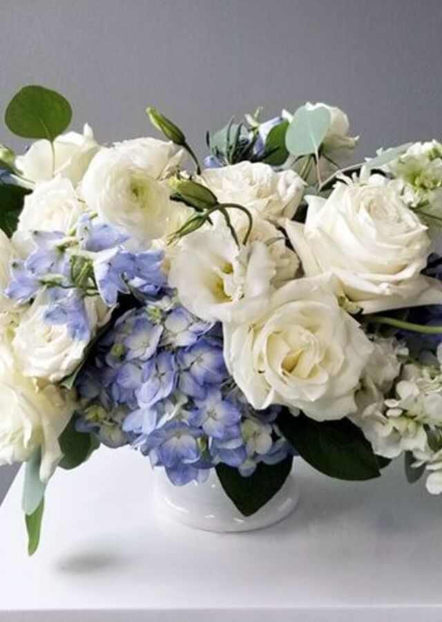 Display of Something Blue: Large Centerpiece by The Flower Alley