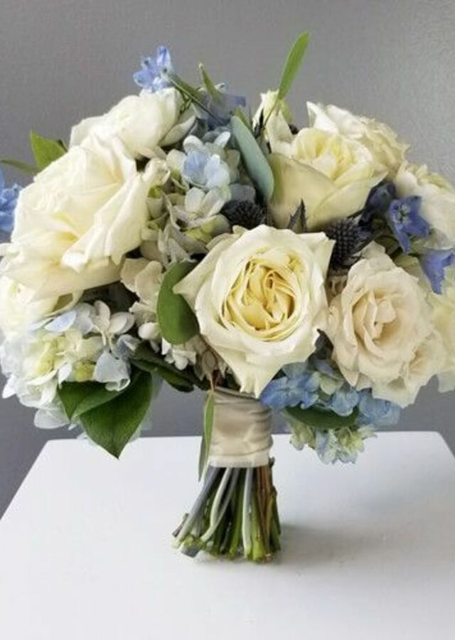 Display of Something Blue: Medium Bouquet by The Flower Alley