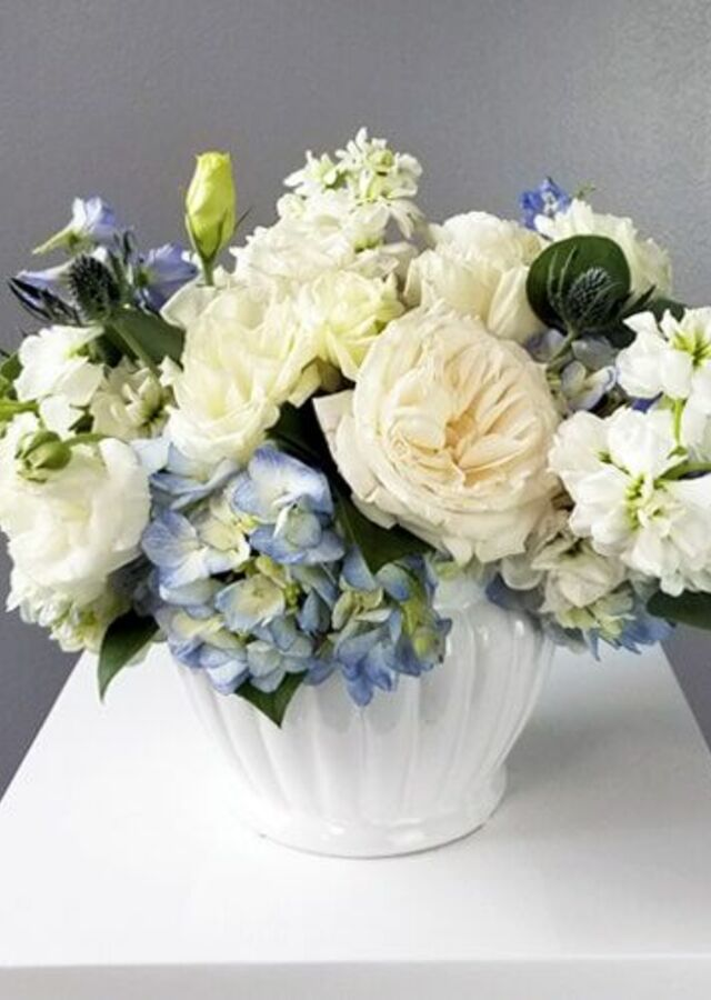 Display of Something Blue: Medium Centerpiece by The Flower Alley