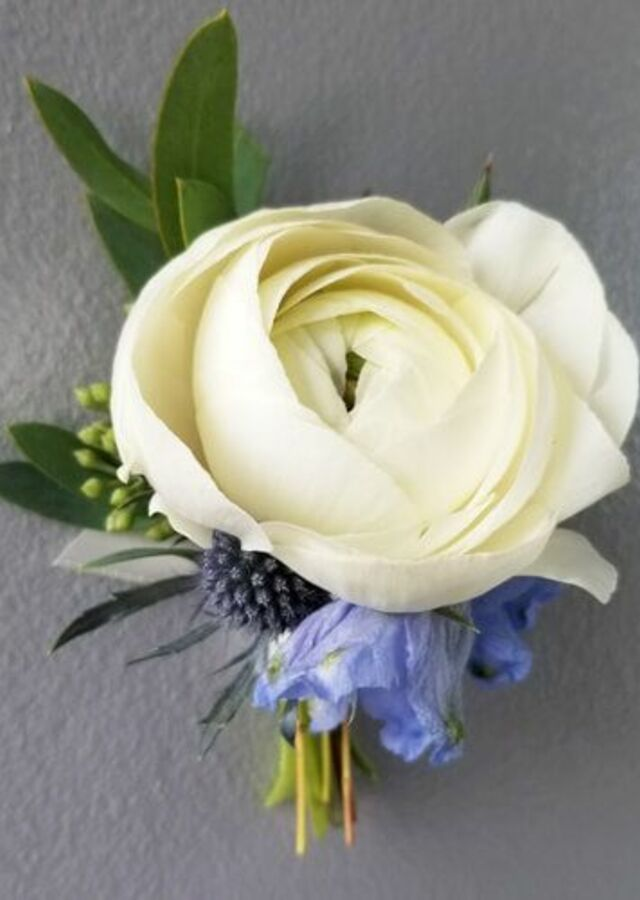 Display of Something Blue: Ranunculus Boutonniere by The Flower Alley