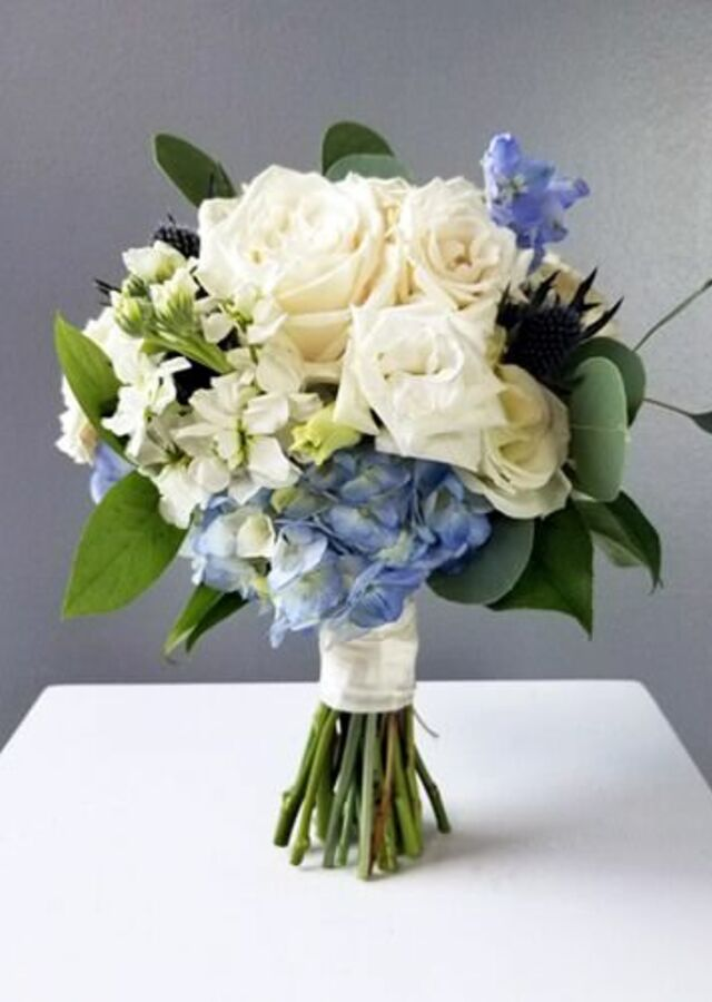 Display of Something Blue: Small Bouquet by The Flower Alley