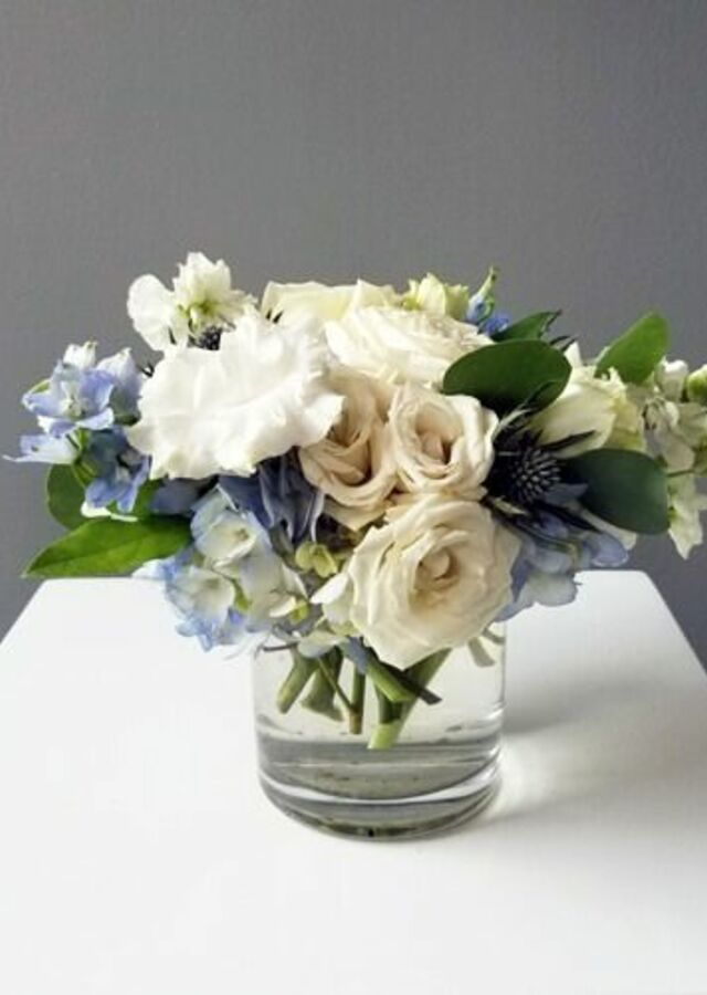 Display of Something Blue: Small Centerpiece by The Flower Alley