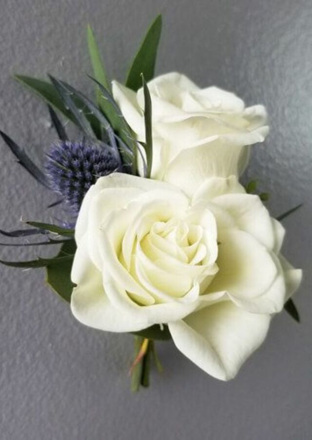 Display of Something Blue: Spray Rose Boutonniere by The Flower Alley