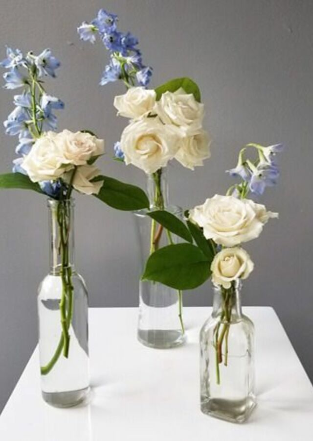 Something Blue: Trio of budvases by The Flower Alley