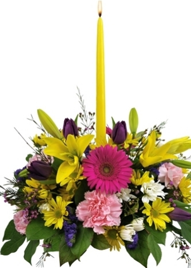Display of Bright Centerpiece by The Flower Alley