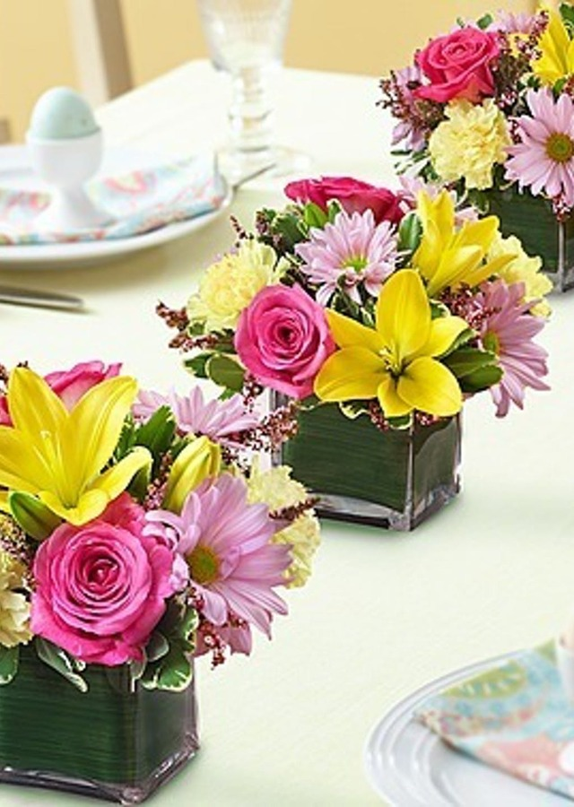 Display of Spring Centerpiece Trio by The Flower Alley