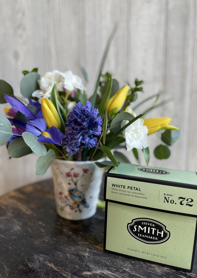 Display of Spring Flowers & Tea Gift Combo by The Flower Alley