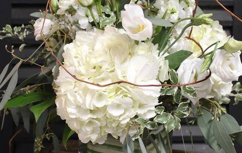 Display of Premium White: Designer Cube Vase by The Flower Alley