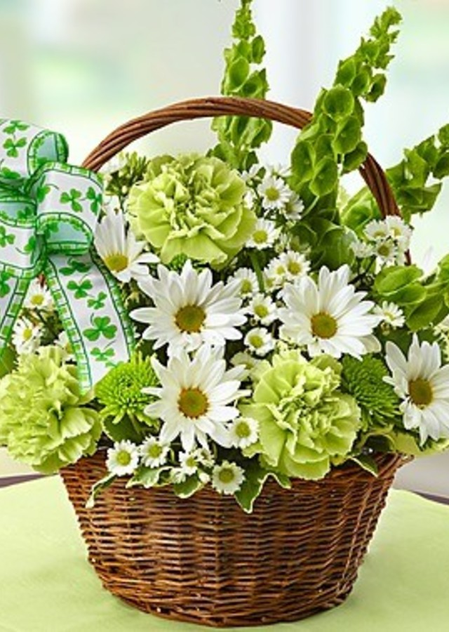 Display of St. Patrick's Day Flower Basket by The Flower Alley