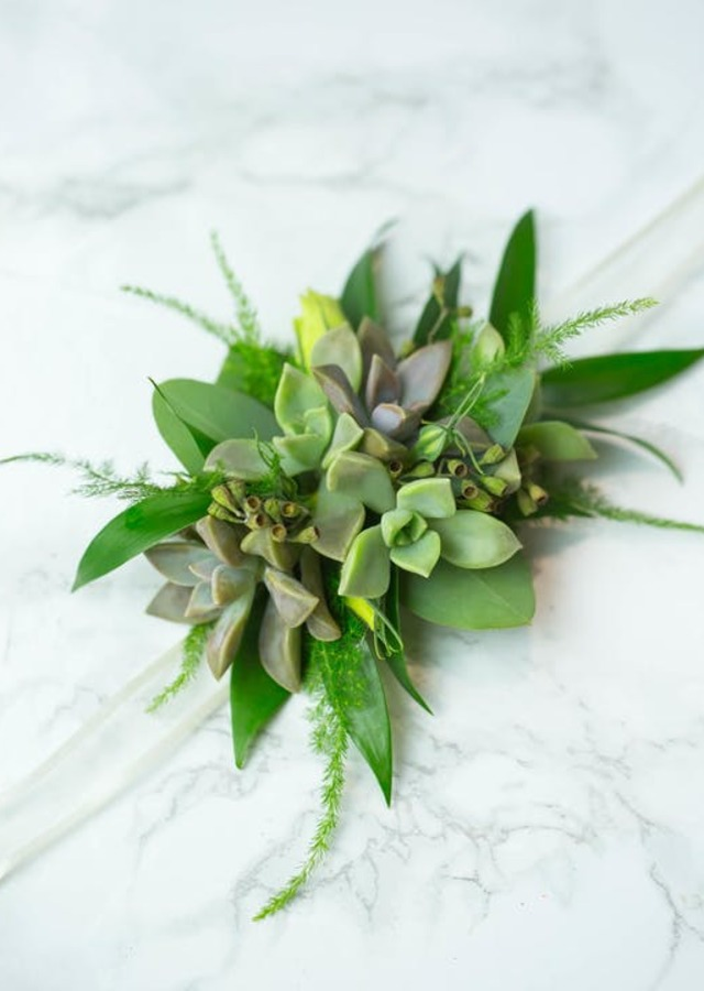 Display of Succulent Corsage by The Flower Alley