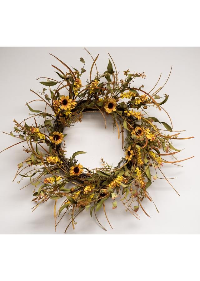 Display of Sunflower Splendor Wreath by The Flower Alley